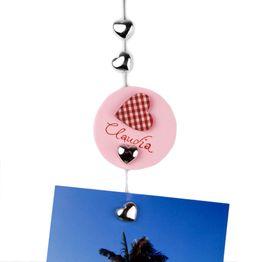 """Fotokoord """"Sweetheart"""" 1,5 m met ophanglus en stalen gewicht, incl. 8 hartjesmagneten"""