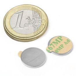 S-13-01-STIC Disco magnetico autoadesivo Ø 13 mm, altezza 1 mm, tiene ca. 710 g, neodimio, N35, nichelato