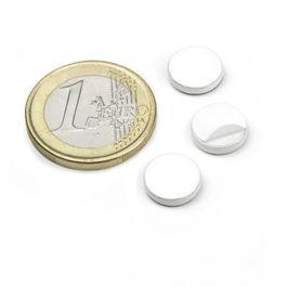 PAS-10-W Metalen schijfje zelfklevend wit Ø 10 mm, als tegenstuk voor magneten, geen magneet!