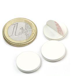 PAS-16-W Disco metallico autoadesivo bianco Ø 16 mm, come controparte per i magneti, non è un magnete!