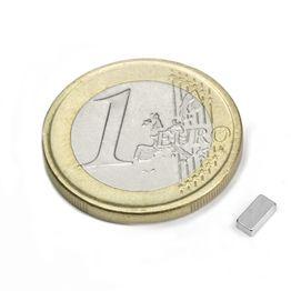 Q-05-2.5-1.5-HN Block magnet 5 x 2,5 x 1,5 mm, holds approx. 350 g, neodymium, 44H, nickel-plated