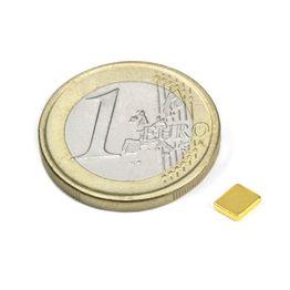 Q-05-04-01-G Parallelepipedo magnetico 5 x 4 x 1 mm, tiene ca. 350 g, neodimio, N50, dorato