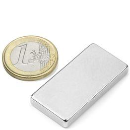 Q-40-20-05-N Parallelepipedo magnetico 40 x 20 x 5 mm, tiene ca. 14 kg, neodimio, N42, nichelato