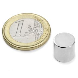 S-10-10-N Disco magnetico Ø 10 mm, altezza 10 mm, neodimio, N45, nichelato