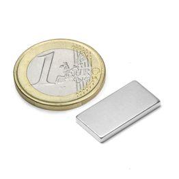 Q-20-10-02-N Parallelepipedo magnetico 20 x 10 x 2 mm, tiene ca. 2,1 kg, neodimio, N45, nichelato