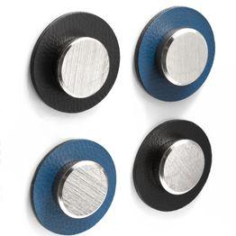 """silwy metaal-nano-gel pads Ø 5,0 cm met magneten """"Smart"""" zelfhechtende hechtondergrond voor magneten, herbruikbaar, met kunstleer bekleed, set van 2, in verschillende kleuren"""