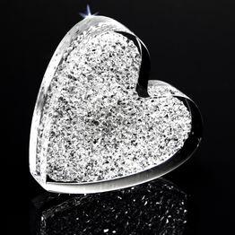 Imán decorativo «Corazón brillante» sujeta aprox. 450 g, de plexiglás, con cristales Swarovski