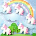 Fridge magnets shaped as unicorns, white-pink, set of 5
