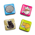 Deco magnets with cat motives, Set of 4