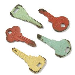 LIV-73, Vintage sleutels, koelkastmagneten in used look, set van 5