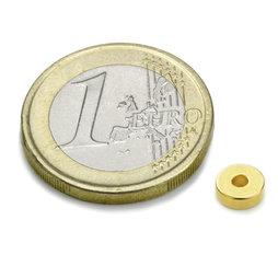 R-06-02-02-G, Ring magnet Ø 6/2 mm, height 2 mm, neodymium, N45, gold-plated