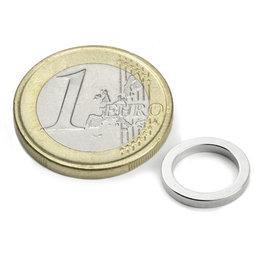 R-12-09-1.5-N, Ring magnet Ø 12/9 mm, height 1,5 mm, neodymium, N45, nickel-plated