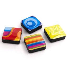 SALE-053/colors, Icons Psychedelisch, decoratiemagneten vierkant, set van 4, Psychedelisch