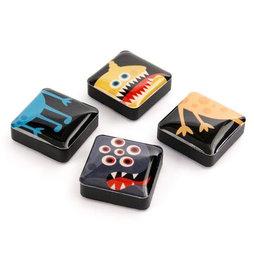 SALE-053/monsters, Icons Monsters, Decoratiemagneten vierkant, Set van 4 stuks, Monsters