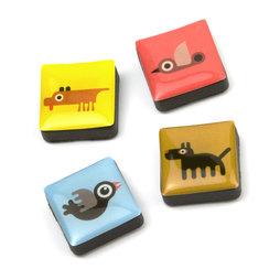 SALE-053/animals, Icons Dieren, decoratiemagneten vierkant, set van 4, Dieren