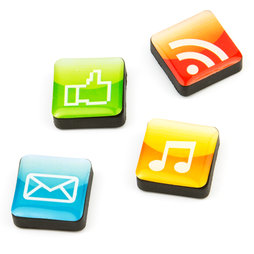 SALE-053/apps, Icons Apps, Decoratiemagneten vierkant, Set van 4 stuks, Apps