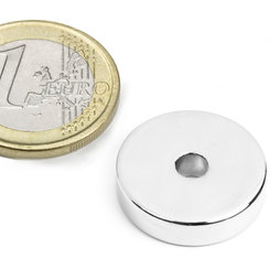 R-20-04-05-N, Ringmagneet Ø 20/4,2 mm, hoogte 5 mm, neodymium, N45, vernikkeld