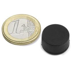 S-15-08-R, Schijfmagneet Ø 16,8 mm, dikte 9,4 mm, neodymium, N42, rubber gecoat