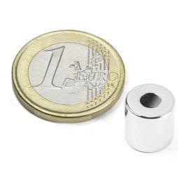 R-10-04-10-N, Ring magnet Ø 10/4 mm, height 10 mm, neodymium, N42, nickel-plated