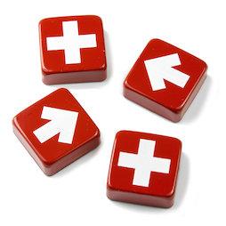 SALE-097, Swiss & Arrow, koelkastmagneten met kruizen en pijlen, set van 4