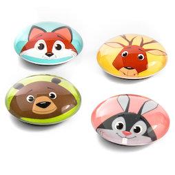 LIV-105, Funimals, ronde knopmagneten met grappige diergezichten., set van 4