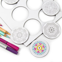 LIV-108, Mandala, koelkastmagneten om zelf in te kleuren, rond, set van 9