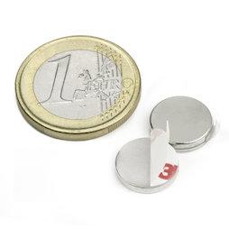 S-12-02-FOAM, Disco magnético adhesivo Ø 12 mm, alto 2 mm, neodimio, N35, niquelado