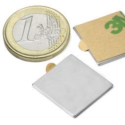 Q-20-20-01-STIC, Blokmagneet (zelfklevend) 20 x 20 x 1 mm, neodymium, N35, vernikkeld
