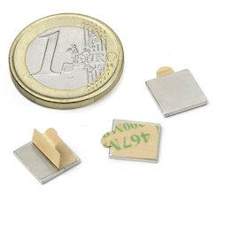 Q-10-10-01-STIC, Blokmagneet (zelfklevend) 10 x 10 x 1 mm, neodymium, N35, vernikkeld