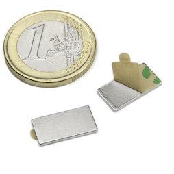 Q-15-08-01-STIC, Blokmagneet (zelfklevend) 15 x 8 x 1 mm, neodymium, N35, vernikkeld