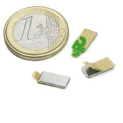 Q-10-05-01-STIC, Blokmagneet (zelfklevend) 10 x 5 x 1 mm, neodymium, N35, vernikkeld