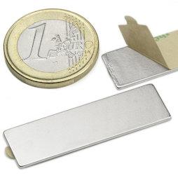 Q-40-12-01-STIC, Blokmagneet zelfklevend 40 x 12 x 1 mm, neodymium, N35, vernikkeld