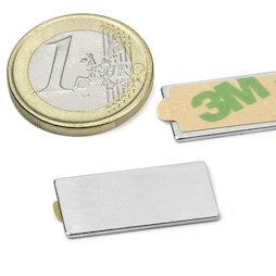 Q-25-12-01-STIC, Blokmagneet (zelfklevend) 25 x 12 x 1 mm, neodymium, N35, vernikkeld