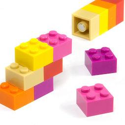 LIV-116, Bouwstenen bontgekleurd Girls, met ingeperste magneten, kleurig geassorteerd, set van 12