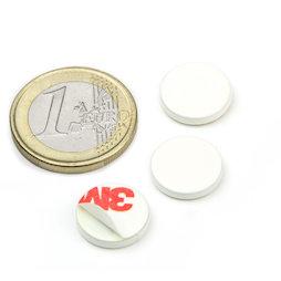PAS-13-W, Metalen schijfje zelfklevend, wit, Ø 13 mm, als tegenstuk voor magneten, geen magneet!