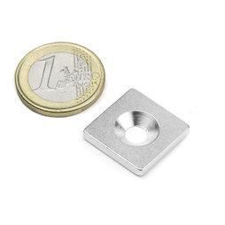 MC-20-20-03, Metalen plaatje met verzonken gat 20x20x3 mm, als tegenstuk voor magneten, geen magneet!