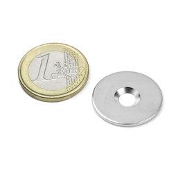 MD-23, Metalen schijfje met verzonken gat, Ø 23 mm, als tegenstuk voor magneten, geen magneet!