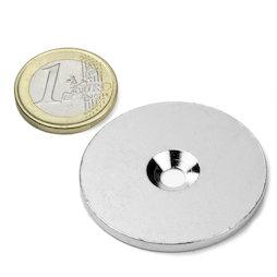 MD-42, Metalen schijf met verzonken gat Ø 42 mm, als tegenstuk voor magneten, geen magneet!
