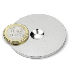 MD-52, Metalen schijf met verzonken gat Ø 52 mm, als tegenstuk voor magneten, geen magneet!