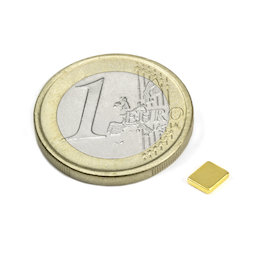Q-05-04-01-G, Blokmagneet 5 x 4 x 1 mm, neodymium, N50, verguld