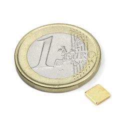Q-CDM50-G, Blokmagneet 5 x 5 x 1,2 mm, neodymium, N50, verguld