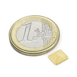 Q-07-06-1.2-G, Blokmagneet 7 x 6 x 1,2 mm, neodymium, N50, verguld