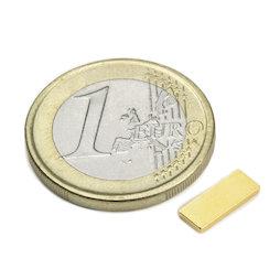 Q-10-04-1.2-G, Blokmagneet 10 x 4 x 1,2 mm, neodymium, N50, verguld