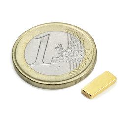 Q-10-04-1.5-G, Blokmagneet 10 x 4 x 1,5 mm, neodymium, N50, verguld