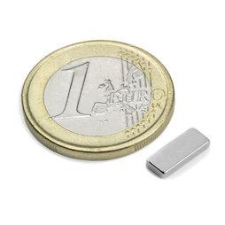 Q-10-04-1.5-N, Blokmagneet 10 x 4 x 1,5 mm, neodymium, N50, vernikkeld
