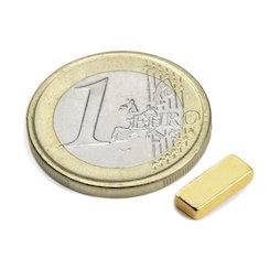 Q-10-04-02-G, Blokmagneet 10 x 4 x 2 mm, neodymium, N50, verguld