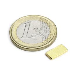 Q-10-05-01-G, Blokmagneet 10 x 5 x 1 mm, neodymium, N50, verguld