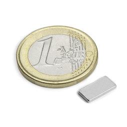 Q-10-05-01-N, Blokmagneet 10 x 5 x 1 mm, neodymium, N50, vernikkeld