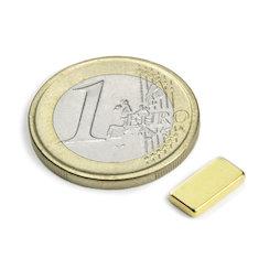 Q-10-05-1.5-G, Blokmagneet 10 x 5 x 1,5 mm, neodymium, N50, verguld