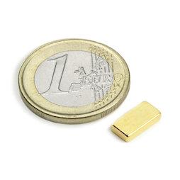 Q-10-05-02-G, Blokmagneet 10 x 5 x 2 mm, neodymium, N50, verguld